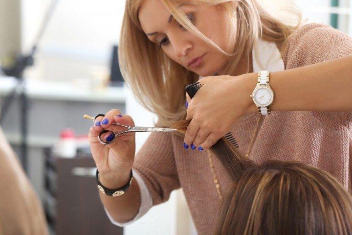 salon worker cutting hair