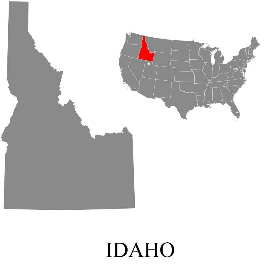 Map of Idaho in the United States