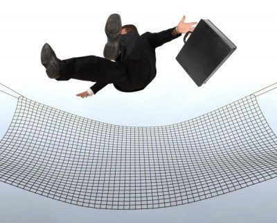 man falling into safety net