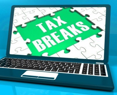 laptop with tax breaks on screen