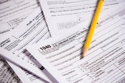tax forms with pencil
