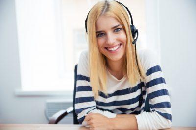 blonde blue eyed telephone operator