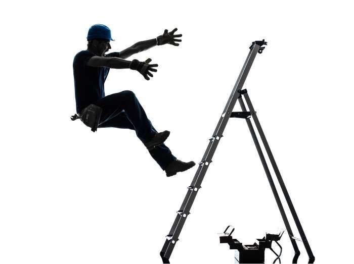 man falling off a ladder