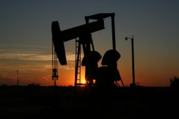 oil well at dusk
