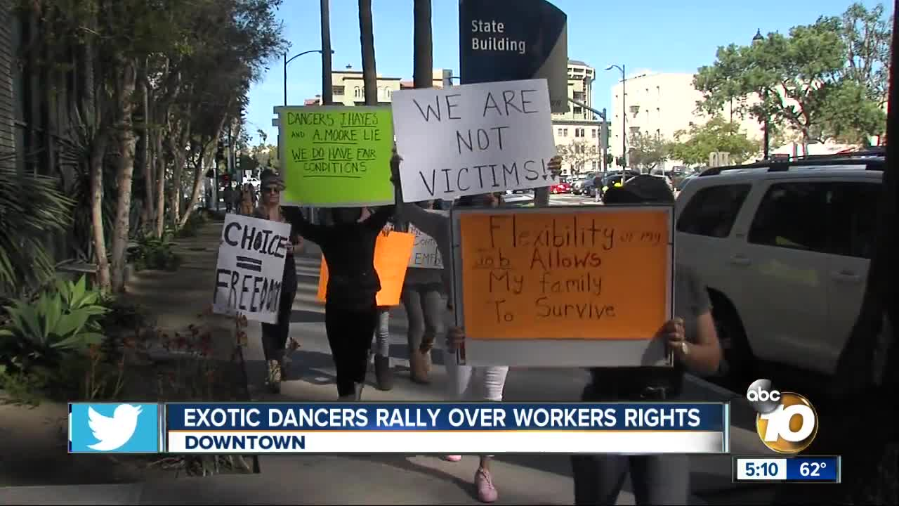 Exotic dancers rally against local lawmaker over workers rights