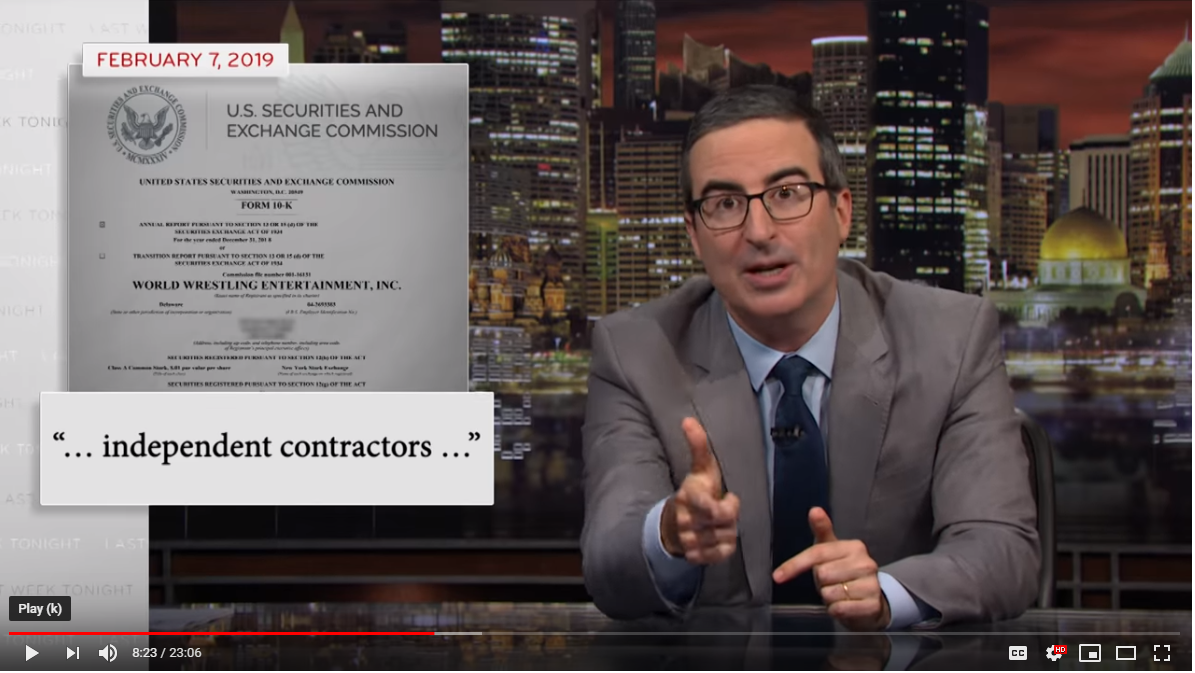 John Oliver says Wrestlers Shouldn't be Independent Contractors
