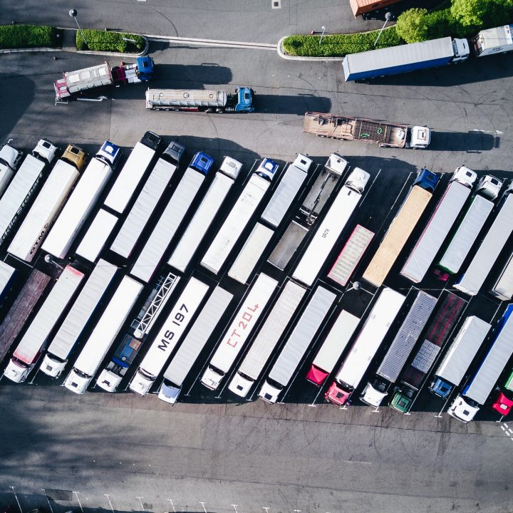 ariel view of many trucks